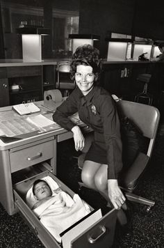 totalement70:  Abandoned baby sleeping in desk drawer at Los Angeles Police station, 1971.