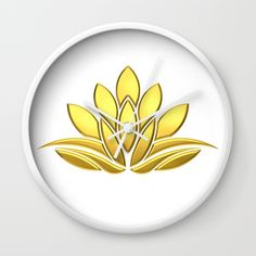 Golden Lotus Flower. Power and Protection Wall Clock