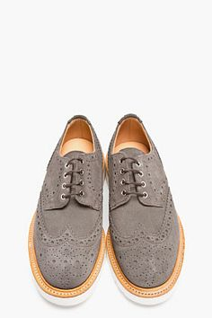 MARK MCNAIRY Grey Suede White-Soled Wingtip Country Brogues