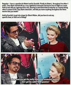 Lol The interviewer is a genius to come up with such a difficult question for Scarlett!  Sheesh!