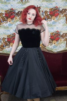 50 Party Dress 50s Black Dress 50s by TrailerParkFlamingo