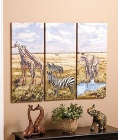 Set of 3 Decorative African Safari Elephant Zebra Giraffe Jungle Animals Canvas Wall Art Print Wood Frame Wall Hanging Decor Home Accent Living Room Bedroom Dining Decoration Artwork Plaque KNL Store,http://www.amazon.com/dp/B00HRWFS7E/ref=cm_sw_r_pi_dp_GxSdtb0QZFNZKXN3