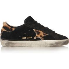 Golden Goose Deluxe Brand Super Star distressed suede and... (£135) ❤ liked on Polyvore featuring shoes, sneakers, shoe's, black, black sneakers, evening shoes, hidden wedge sneakers, leopard print sneakers and black trainers
