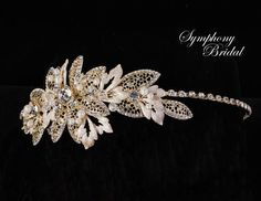 Stunning Gold or Silver plated  Floral Leaf Headband Symphony Bridal 7713cr - Affordable Elegance Bridal