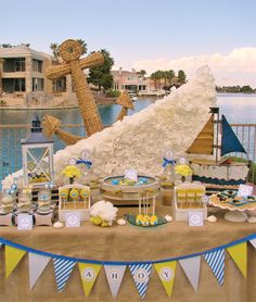 Ships Ahoy! Nautical Baby Shower - some wonderful elements that would be great for a nautical wedding!