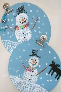 Winter painting with q tips :) art and fine motor practice~ Craft for the kids are around the holidays