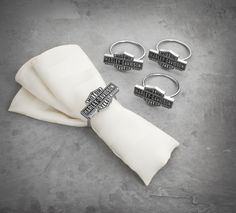 Set up your dinner party right! | Harley-Davidson Bar & Shield Napkin Rings