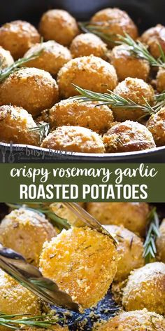 Crispy Rosemary Roasted Potatoes These Easy Crispy Rosemary Garlic Potatoes are the easiest pan roasted potatoes that are crispy on the outside and fluffy on the inside – in only one pan, no boiling required! Thanksgiving Recipes, Fall Recipes, Mexican Food Recipes, Holiday Recipes, Vegetarian Recipes, Dinner Recipes, Healthy Recipes, Rosemary Garlic Potatoes, Pan Roasted Potatoes
