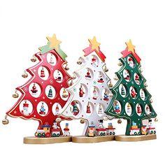 FENICAL Arbre de Noël en bois bricolage dessin animé Noël ornement cadeau Table bureau décoration décoration de Noël (rouge): Le décor est…
