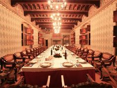 This Medieval Castle has patterned walls, built in cabinets, a massive dining table, exposed wooden ceiling detail, multiple hanging chandeliers and an ornate fireplace. Interior And Exterior, Interior Design, Ceiling Detail, Wooden Ceilings, Lord, Expensive Houses, Best Dining, Medieval Castle, Wall Patterns