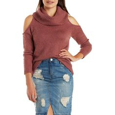 Charlotte Russe Red Cold Shoulder Cowl Neck Pullover Sweater by... (200 DKK) ❤ liked on Polyvore featuring tops, sweaters, red, sweater pullover, ribbed sweater, pullover sweater, red pullover sweater and cut out sweater