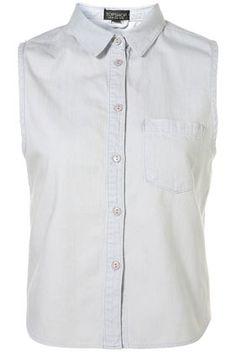 MOTO Sleeveless Crop Bleach Denim Shirt