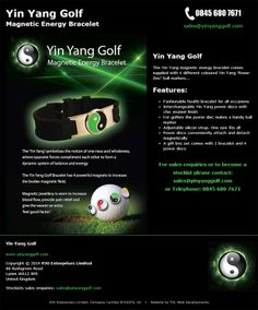 Single page 'business card' type website for the Yin Yang Golf magnetic energy bracelet. View the site at www.yinyanggolf.com