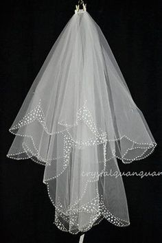 NEW 2 Layers White/ivory Beaded Hanging Gorgeous Bridal Veil With Comb Gift UK