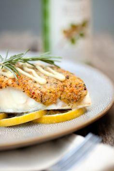 Filet de bar en croûte de pistaches, mayonnaise au citron et à l'Huile de Pistache - Huiles d'exception La Tourangelle