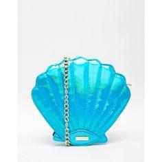 Skinnydip Mermaid Shell Across Body Bag ($44) ❤ liked on Polyvore featuring bags, handbags, shoulder bags, mermaid, aqua, metallic handbags, blue crossbody, blue cross body purse, chain purse and blue crossbody handbag