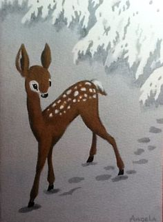 Hoofprints in the snow..... vintage Christmas deer