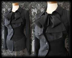 Goth Black Frilled Pussy Bow IMMORTAL Corset Waistcoat 12 14 Victorian Steampunk - £29.00