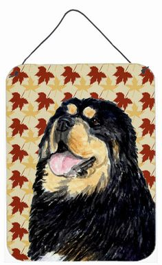 Tibetan Mastiff Fall Leaves Portrait Wall or Door Hanging Prints