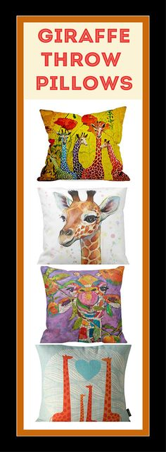 Giraffe Throw Pillows. If you love giraffes, you're going to love these cute giraffe throw pillows. They will look great on your sofa or bed.