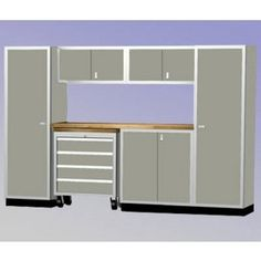 """MODULINE 10' Wide Garage Cabinet Combination  Includes:    Two # 792424TK Closets    One # 402436TK Base Cabinets    One # 39.21832TB-4 Mobile 4 Drawer Tool Box with butcher block top and lock    Two # 181536 Wall Cabinets    72"""" Wide Butcher Block Countertop, 25"""" deep    Available in Red, White, Blue, Black or Light Gray    Pricing includes shipping within the Continental U.S.    Member Price: $7,159.00"""