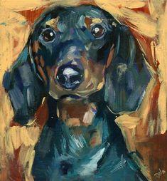 "Daily Paintworks - ""Chorizo - black dachshund, doxie, sausage dog "" - Original Fine Art for Sale - © adam deda"