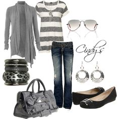 """Grey and Jeans"" by cindycook10 on Polyvore"