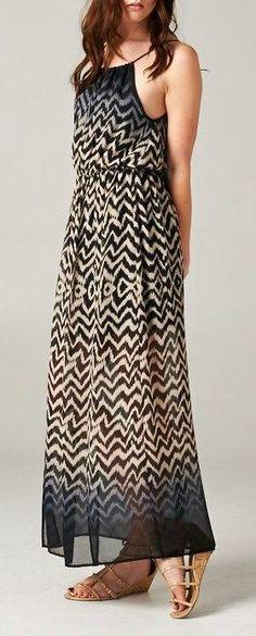 Take me on an island getaway so I can wear this gorgeous Chevron Summer Maxi Dress ♥