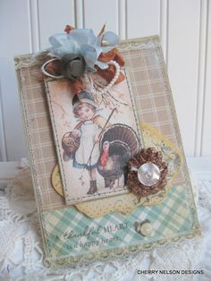 Cherry's Jubilee: Thanksgiving card with lace, machine stitching and paper that looks like fabric.