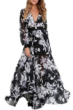 The design of this dress is exquisite. It features thereal white floral print. Long-length cut make you look even taller and add more grace elements. Details: