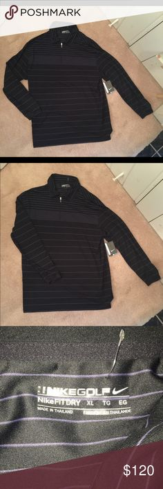 🆕 Nike Golf 1/4 zip shirt Nike Golf  Nike fit dry 1/4 zip NWT standard fit Black with purple pinstripes xl never been worn Nike Golf Shirts