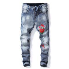 e772231ee26e Good Quality 2018 New Men s Embroidery Jeans Men Cotton Pencil Pants Slim  Jeans Fashion Cowboy Denim