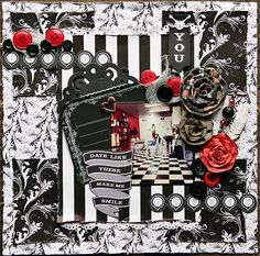 "Scraps of Darkness kit club - layout by Mandy Harrell, created with the September ""The Black Album"" kit. www.scrapsofdarkness.com"
