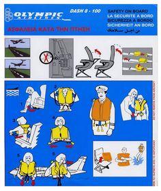 Olympic Airways Safety Card Dash 8-100
