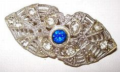 Art Deco Brooch Pin Blue & Clear by BrightgemsTreasures on Etsy, $34.50