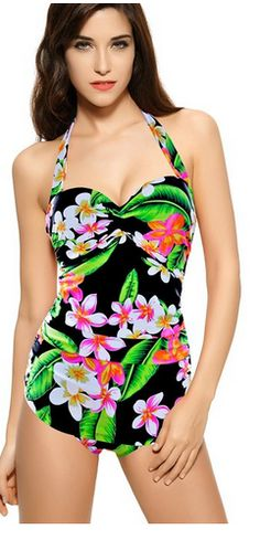 Retro Inspired Vintage One Piece Swimsuit Floral