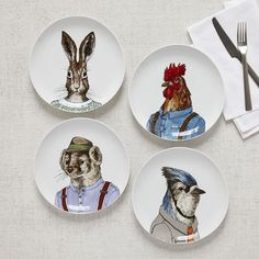NEW additions to our collection of Dapper Animal Plates from illustrator Rachel Kozlowski! A Blue Jay, Badger Rabbit + Rooster.