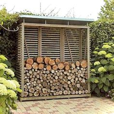 You want to build a outdoor firewood rack? Here is a some firewood storage and creative firewood rack ideas for outdoors. Lots of great building tutorials and DIY-friendly inspirations! Outdoor Firewood Rack, Firewood Shed, Firewood Storage, Rustic Gardens, Outdoor Gardens, Shed Design, Garden Design, Wood Storage Sheds, Wood Store
