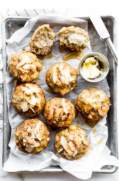 Lightly Sweetened Paleo Banana Bread Muffins with Toasted Coconut. via @cottercrunch