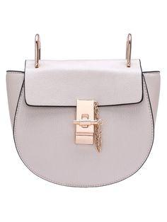 White Twist Lock Shoulder Bag