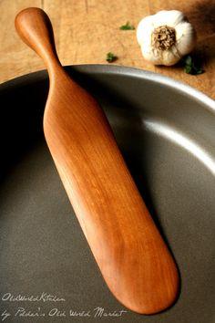 Solid Wood Chef's Spurtle Wooden Spatula Unique by OldWorldKitchen, $25.00