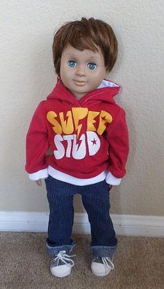 stud hoodie for american girl boy doll 18 inch doll