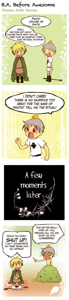 "Chibi Prussia Diaries 25! ""Fool one does not simply conjure pants!"" makes me laugh every time. Will England succeed?"