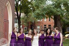 Mixed bridesmaids dresses, twist & wrap in purple > Sweetheart Empire » Wedding Photographer