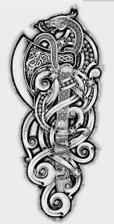 Viking Sword Tattoo, Viking Tribal Tattoos, Viking Tattoo Sleeve, Viking Tattoo Symbol, Celtic Tattoo Symbols, Norse Tattoo, Viking Tattoo Design, Celtic Tattoos, Berserker Tattoo