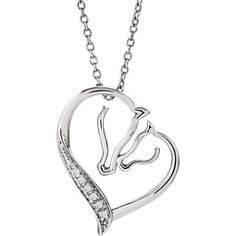 Tender Voices .03 ctw Diamond Horses Heart Necklace Sterling Silver Mare & Foal #TenderVoicesASPCACollection #PendantNecklace18