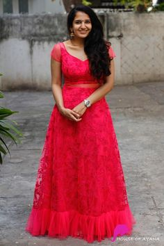 Product Details: Fabric: Cord embroidered, Silk net in Hot pink Saree Blouse Neck Designs, Dress Neck Designs, Blouse Designs, Long Gown Dress, Frock Dress, Anarkali Dress, Lehenga, Marriage Dress, Frock For Women