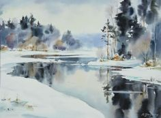 Art Of Watercolor: Maria Ginzburg. Watercolor Landscape Paintings, Watercolor Artwork, Watercolor Artists, Watercolor Techniques, Abstract Landscape, Abstract Oil, Abstract Paintings, Oil Paintings, Painting Snow