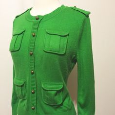 NY&C Amazing Green Pocketed Cardigan Fantastic cardigan! Brass buttons, ribbed cuff and hem, four pockets. 100% acrylic Machine washable New York & Company Sweaters Cardigans