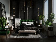 Check out my Behance project green bedroom urban jungle black bedroom green bedroom cactus bedroom decor minimalism aztec print gold and black Green Bedroom Decor, Art Deco Bedroom, Room Ideas Bedroom, Home Decor Bedroom, Cactus Bedroom, Bedroom Sets, Bed Room, Black Gold Bedroom, Black Bedroom Design
